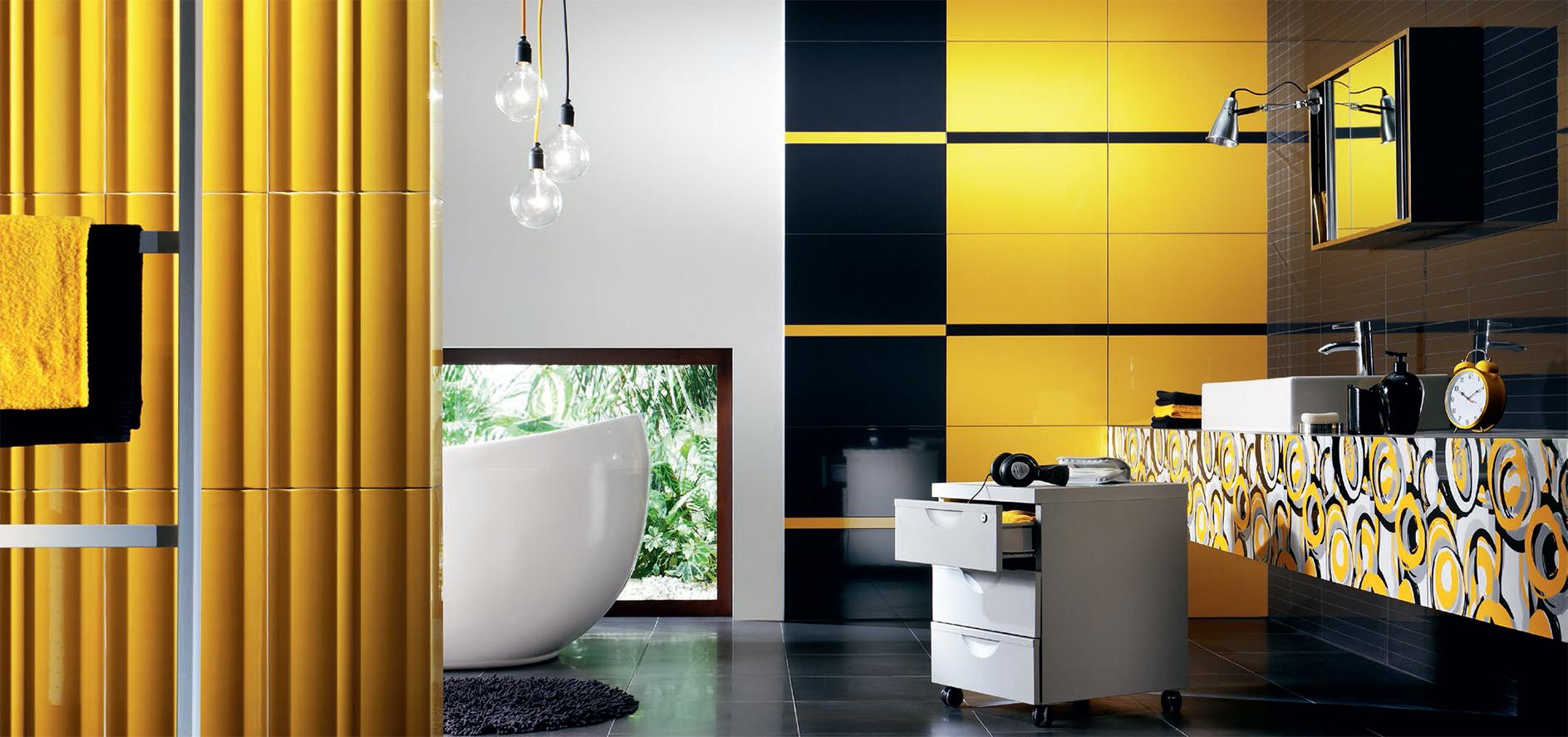 Piastrelle Arancioni Per Bagno piastrelle gialle per il bagno (17 foto): piastrelle per il