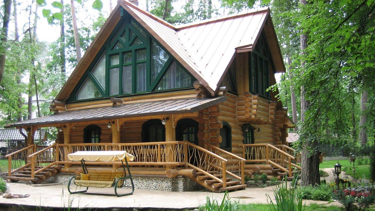 Projek Rumah Kayu Diperbuat Daripada Balak 44 Foto Reka Bentuk Struktur Satu Tingkat Dari Kayu Bulat Pilihan Dengan Garaj