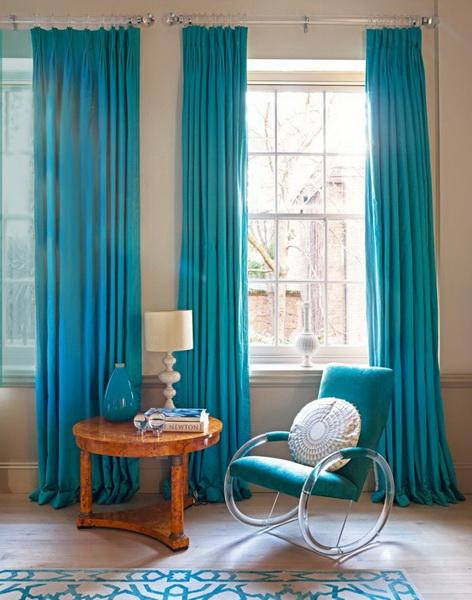 Tirai Turquoise 45 Gambar Di Pedalaman Tirai Warna Biru Di Ruang Tamu Dan Di Dapur Di Bilik Tidur Dengan Kombinasi Coklat Dan Krim