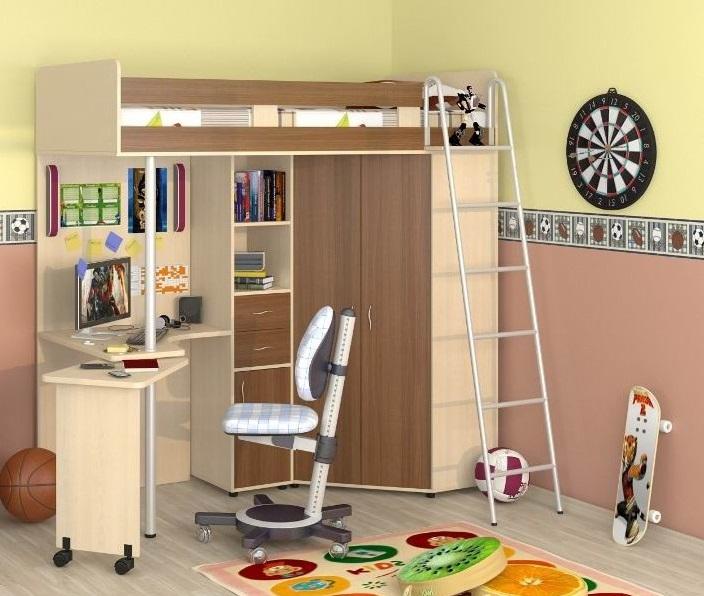 Cama Alta Para Niños Con área De Trabajo 64 Fotos Modelos