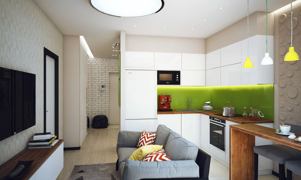 Kitchen Living Area Of 15 Square Meters M 50 Photos Interior Design Of A Room Of 15 Squares In Size And Layout With A Sofa