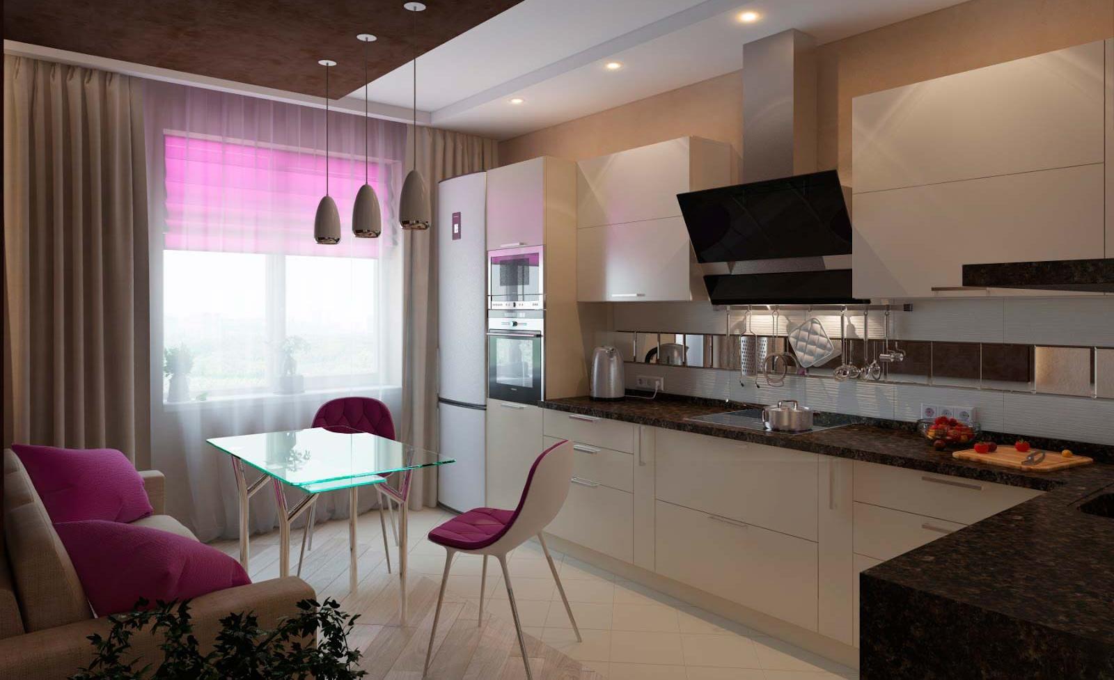 Cucina-soggiorno design 12 metri quadrati. m (50 foto ...
