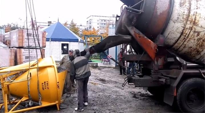 Balde de concreto para construção de mix