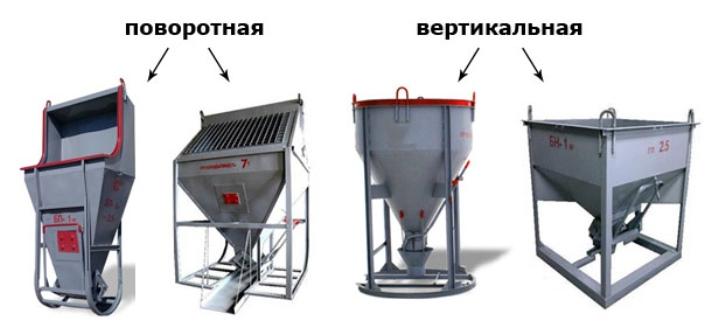 Tipos de baldes para concreto
